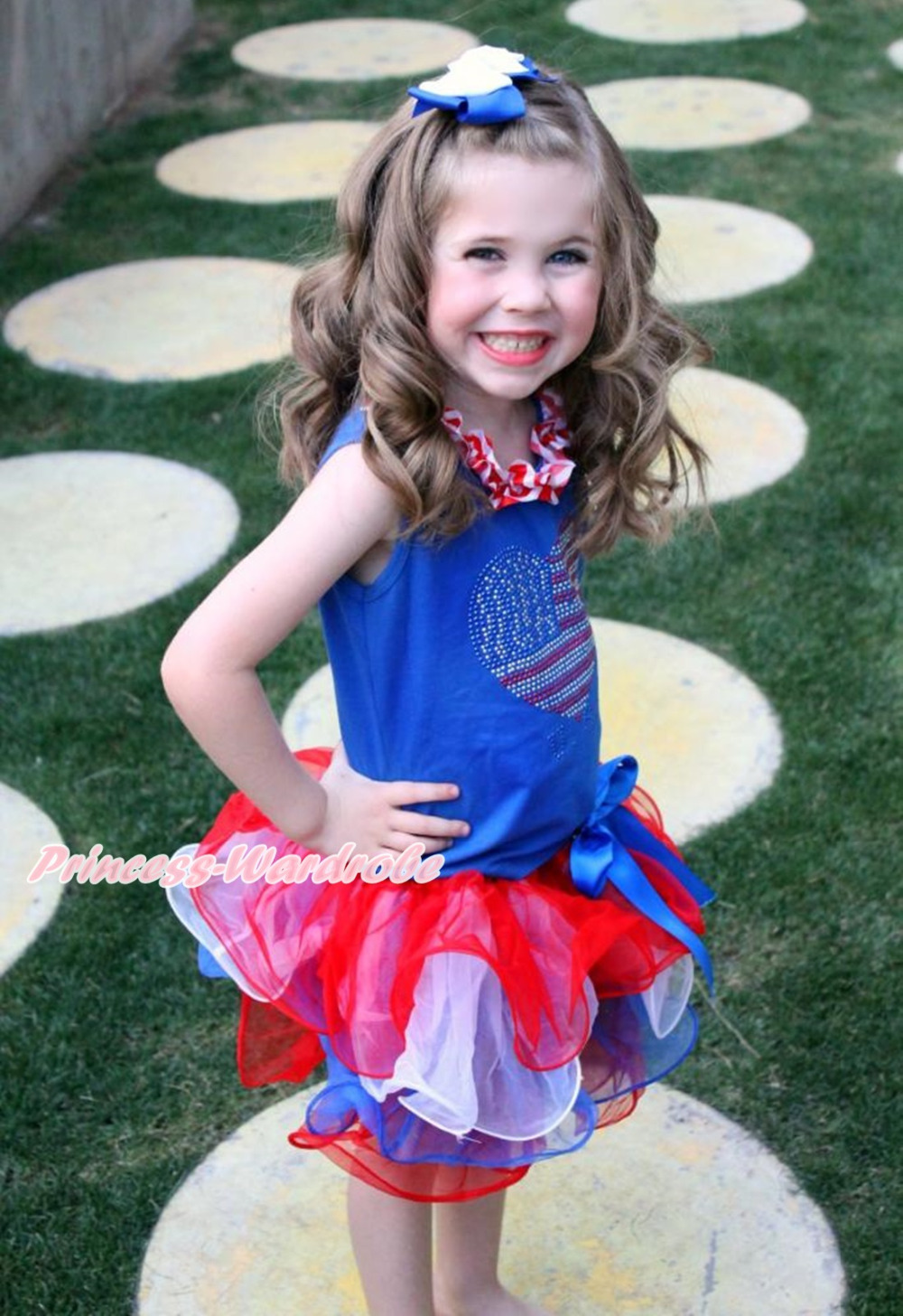 4th July Rhinestone USA Heart Blue Top Girl Red White Blue Petal Skirt Set NB-8Y MAMH246 4th july america usa heart girls royal blue top bling sequins baby skirt 3 12m