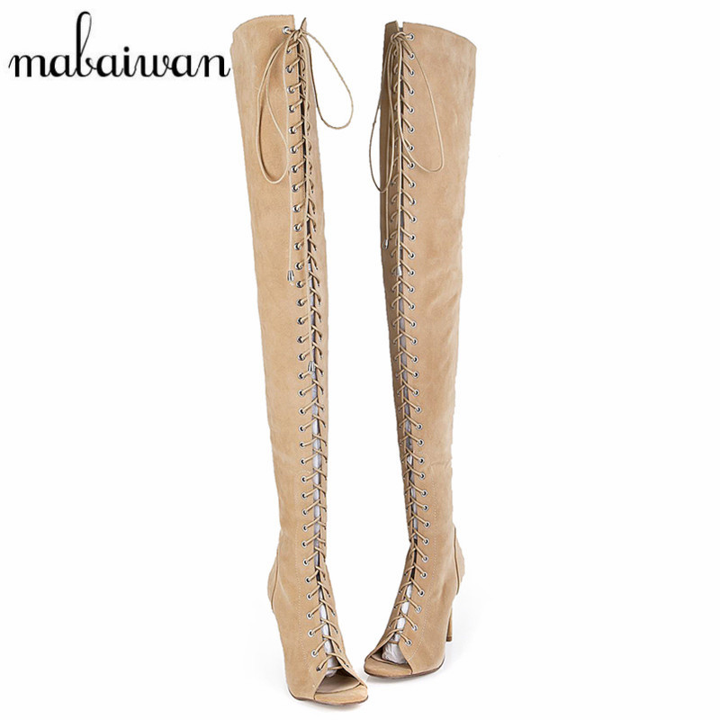 цена на Mabaiwan Designer Women Lace Up Thigh High Boots Sexy Peep Toe Cut Outs Strappy Gladiator Summer Long Boots Over The Knee Botas