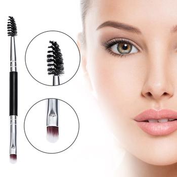 1 sztuk podwójny pędzel do brwi + pędzel do brwi pędzle do makijażu pędzle do makijażu brwi do makijażu pędzel do narzędzia do makijażu oczu tanie i dobre opinie Pędzel do makijażu Eyebrow brush MZ15023 NYLON Zestawy i zestawy 1pcs Metal