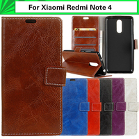 Wallet Capa For Xiaomi Redmi Note 4 Case Horse Skin Pattern PU Flip Leather Bag Cover