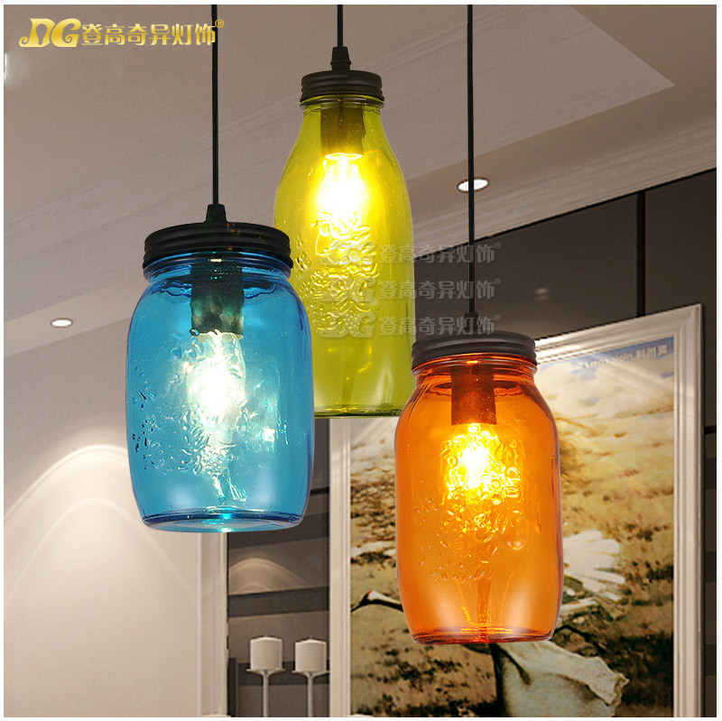 Modern Home Decoration A/B/C Style Colorful Bottle Diner Pendant Light Bar Light Coffee Shop Light AC90-260V Free Shipping modern home decoration a b c d led dining room smoky gray glass pendent light coffee shop light bar lights free shipping