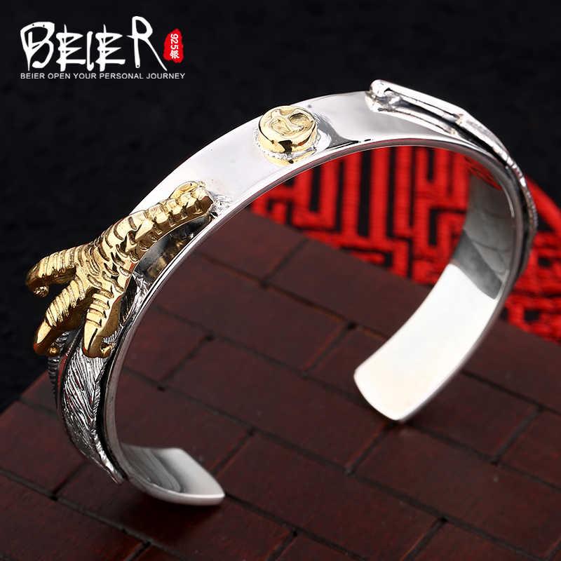 Beier браслеты из стерлингового серебра 925 пробы романтические высококачественные панк-браслет с зеленым драгоценным камнем для мужчин и женщин BR925SZ066
