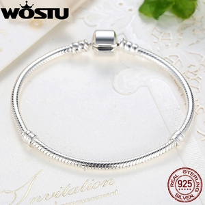 Image 2 - WOSTU Luxury Original 100% 925 Sterling Silver Snake Chain Bracelet Bangle for Women Authentic Charm Jewelry Pulseira Gift