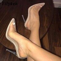 Eilyken/женские туфли-лодочки, 2019, прозрачные, на очень высоком каблуке, пикантные, с острым носком, без шнуровки, Свадебная обувь для женщин, туф...