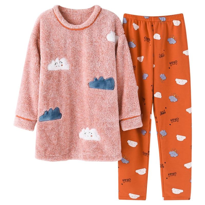 Brand Winter Warm Coral Fleece Cartoon Women's   Pajama     Sets   Micro Velvet Sleep Bottoms Pants Flannel   Pajamas   Girls Lounge Fashion