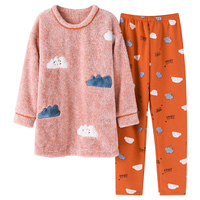 Brand Winter Warm Coral Fleece Cartoon Women's Pajama Sets Micro Velvet Sleep Bottoms Pants Flannel Pajamas Girls Lounge Fashion