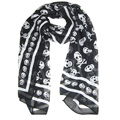 SAF 2016 NEW Black Chiffon Silk Skull Print Long Scarf Shawl For Women + Keyring