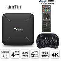 TX3 мини Smart Android 7,1 ТВ коробка S905W 2 ГБ оперативная память DDR3 + 16 ГБ Встроенная eMMC К 4 к Поддержка Wi Fi 2,4 ГГц Miracast Airplay DLNA Media Player