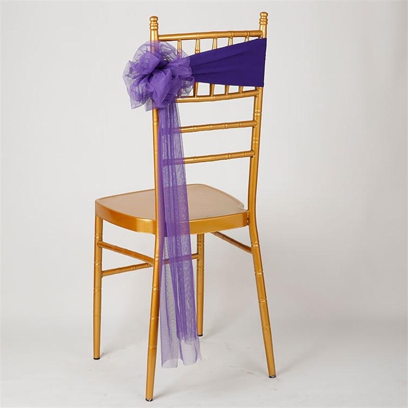 Organza 피시 꼬리 의자 장식과 새로운 도착 10pcs / lot 스판덱스 무료 넥타이 스트레치 웨딩 의자 커버