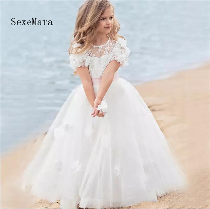 White Ball Gown Flower Girls Dresses for Wedding Short Sleeve 3D Flowers Beading Lace Girls Communion Gown Pageant Dress perfect purple flowers big bow organza short sleeve slim lace crochet dress for women