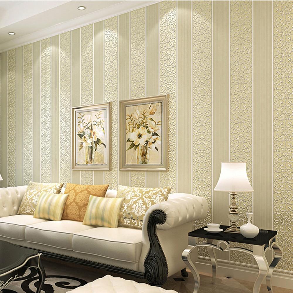 € 15.44 60% de réduction|Papier peint rayé damassé  blanc/jaune/Beige/rose/marron pour chambre papier peint moderne en relief  Texture rouleau de ...