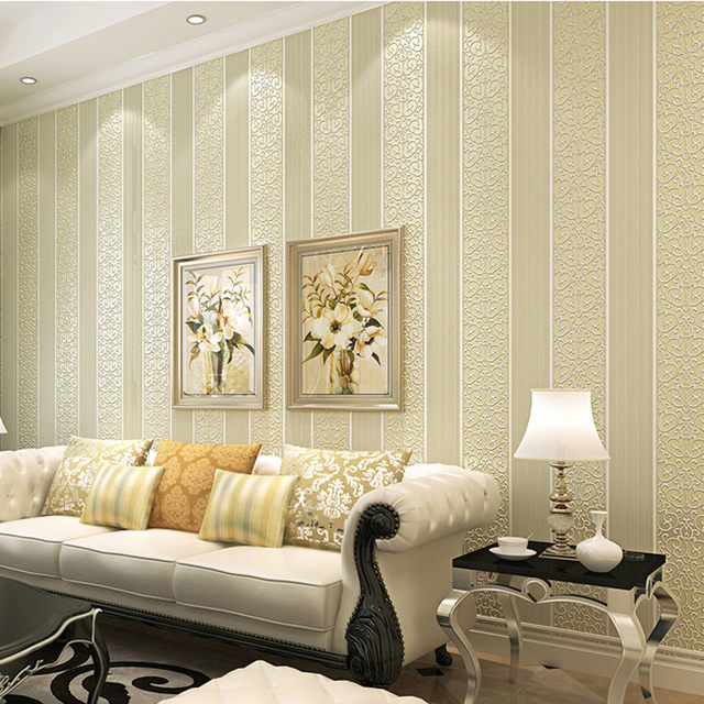 Weiß/Gelb/Beige/Rosa/Braun Schimmer Damast Gestreifte Tapete Für  Schlafzimmer Moderne Geprägte Textur Wand Papier Rolle Wohnkultur