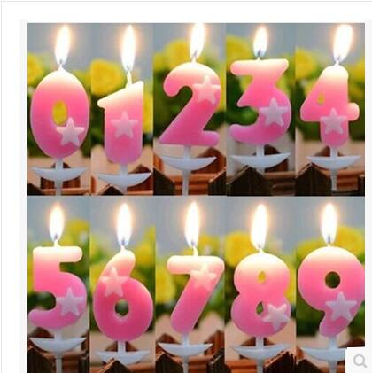 Children creative romantic opp five-star birthday number candles baby hundred days wedding cake decoration
