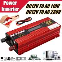 Multifunction 2000W Car LCD Solar Power Inverter DC 12V to AC 110V/230V Modified Sine Wave Converter Adapter Car Vehicles