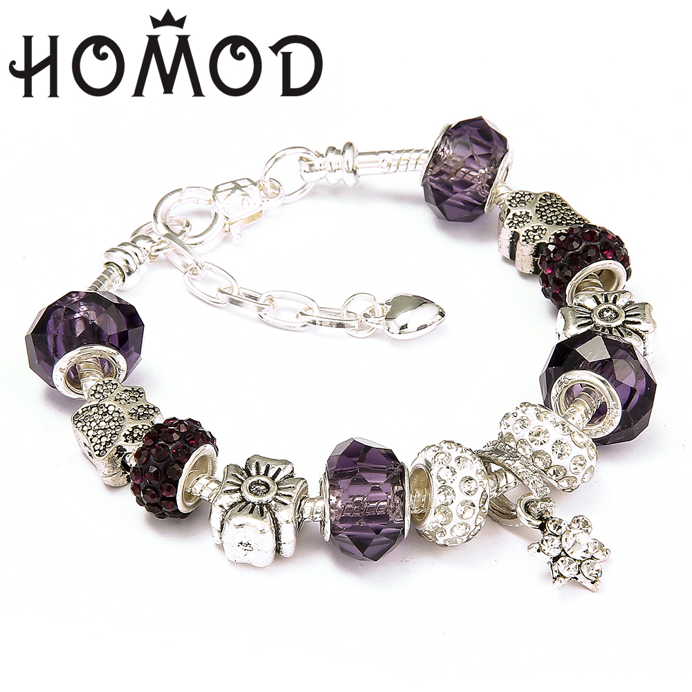 HOMOD 2019 New Crystal Beads European Brand Bracelets Silver Plated Star Charm Bracelets For Women Friendship Pulseras in Charm Bracelets from Jewelry Accessories