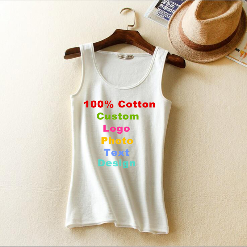 Summer Korean Slim Women Tops Tanks Sexy Solid Custom Logo Text Photo Print Tees Slim Ve ...