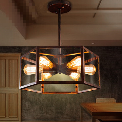 American Vintage Creative Restaurant Bar Counter Lustre Bar Cafe Industrial Six Heads Glass Ceiling Lamps