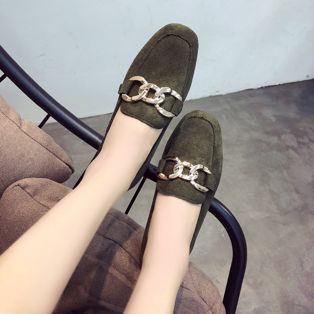 2018 New Women Flats Fashion Spring Women Shoes Metal Chain Loafers Casual Soft Flat Female Comfort Solid Basic Ladies Shoes women flats 2018 new fashion spring women shoes loafers casual soft flat female comfort solid basic ladies flats ybt702