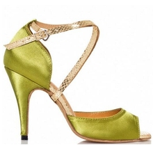 Professional Discount Satin Latin Dance Shoes Woman Popular Green Mid High Heels Tango Salsa Shoes Ladies Women Latin Shoes