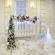 Laeacco Dreamy Christmas Tree Light Bulb Deer Decor Gift Carpet Cotton Photo Backgrounds Photography Backdrops For Studio
