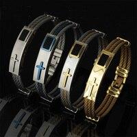 David Kabel Mens Stainless Steel Men Viking Bracelet Viking Bracelet Bangle Stainless Steel Cross Bracelet
