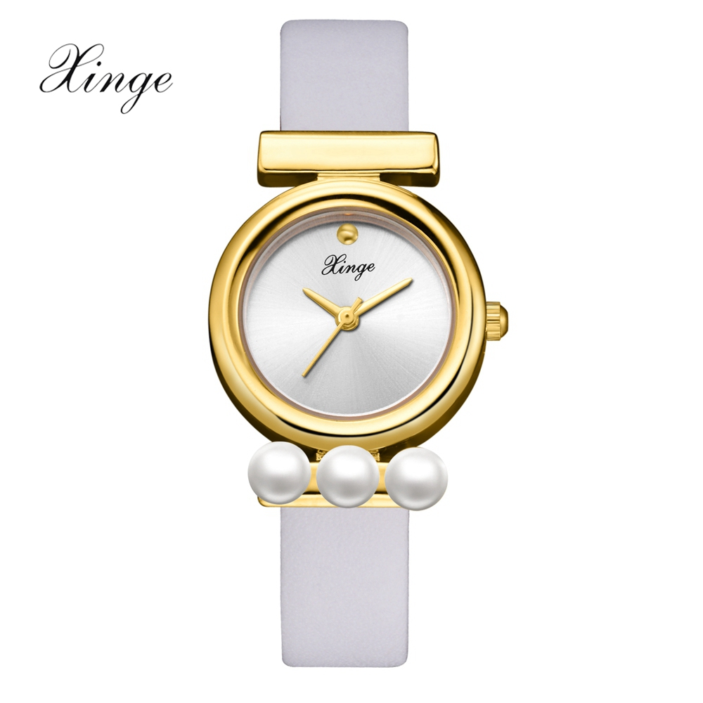 Xinge Luxury Brand Watches Women Fashion Ultra Thin Ladies Pearl Watch Stainless Steel Leather Strap Vintage Quartz Wristwatch xinge brand fashion women quartz wrsit watches clock leather strap business watch ladies silver luxury female sport womens watch
