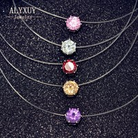 Fashion Jewelry Top Quality Transparent Fishing Line Chain Link Zircon CZ Choker Necklace Gift For