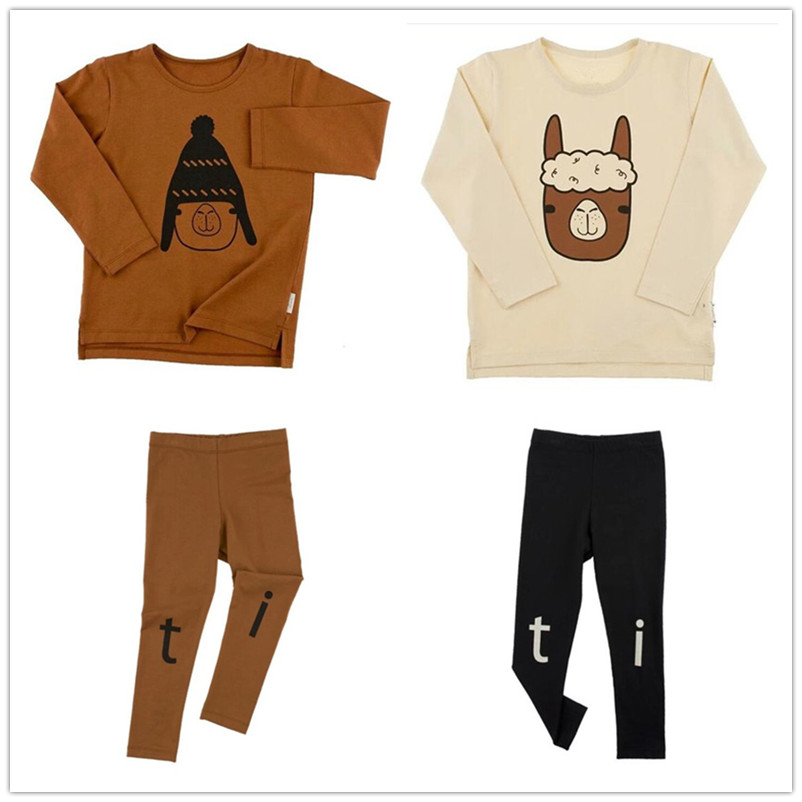 2017 Long Sleeve Kids Clothes Sets Children Tiny Cotton Boys Girls T Shirt 0-6Y Tees Alpaca Printing Kids Clothes Pants Suits