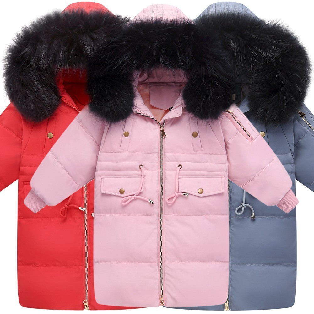 купить Christmas Teenage Girls Winter Clothes 2018 Kids Jackets Winter Duck Down Fur Hooded Boys Warm Coats Toddler Children Clothing