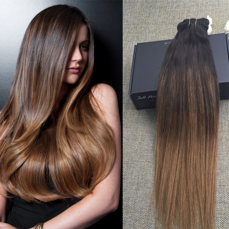 Full Shine 10pcs Clip in Human Hair Extensions Ombre Balayage Color 2 6 Remy Virgin Hair