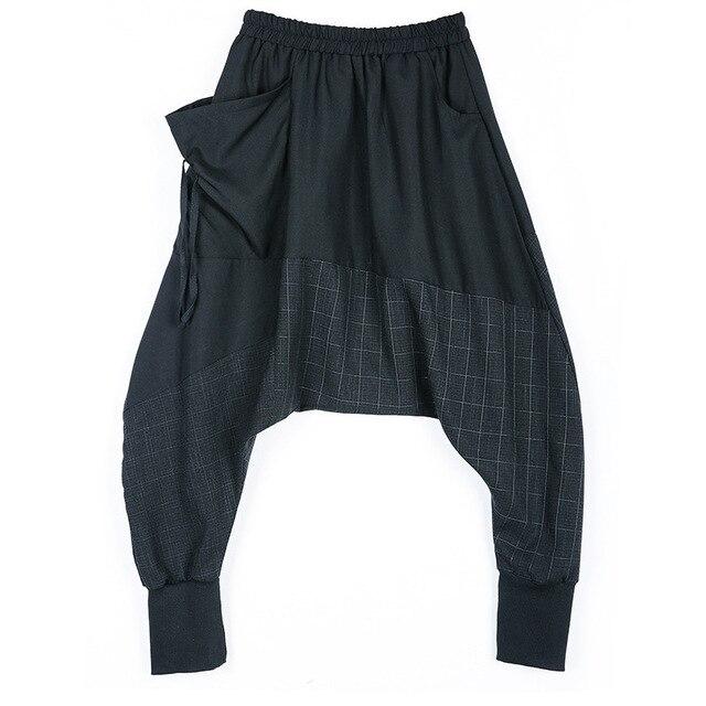 0bbf7bb0a8 Spring Autumn Harajuku Casual Baggy Capri Plaid Bohemian Loose Drop Crotch  Elastic Waist Pantalon Harem Pants