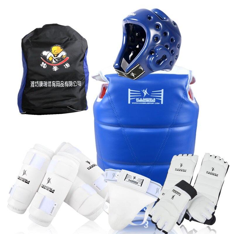 8 pcs vente chaude WTF approuver Taekwondo protecteurs costume Enfant adulte TKD gants chaussures poitrine shin bras garde karaté MMA kick casque