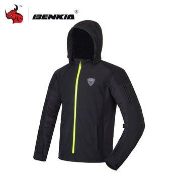 Chaqueta de Moto BENKIA para hombre, protección cortavientos para invierno, chaqueta con capucha para Motocross, chaqueta negra para Moto S-4XL