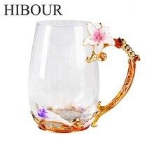 HIBOUR Farbe Emaille Glas Kaffeetasse Blume Tee Tasse Mit Löffel Kreative Tassen und Becher Drink Mit Geschenk-box