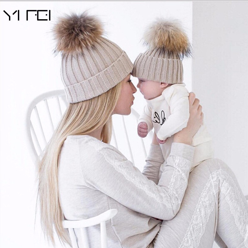 YIFEI  2017 Fashion Children Winter Raccoon Fur Hats 100% Real Wool Cap Natural Fur Hat For Parent-child Knitted Crochet Beanie the new children s cubs hat qiu dong with cartoon animals knitting wool cap and pile