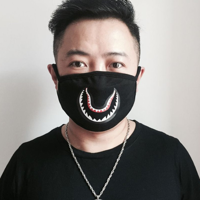 Camouflage shark mouth mask black cool handsome creative personality  fashion crowd cover 7e9617d5aa5d