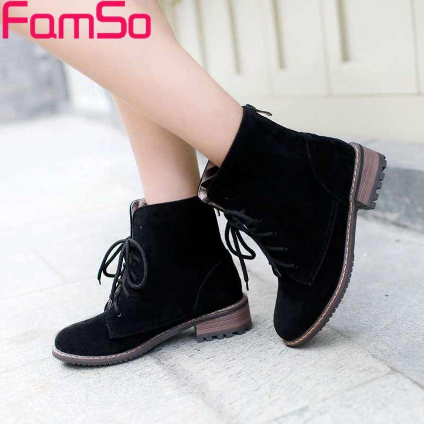 Plus Size34 43 2016 New Arrival font b Women b font Boots Black beige Thick Heel