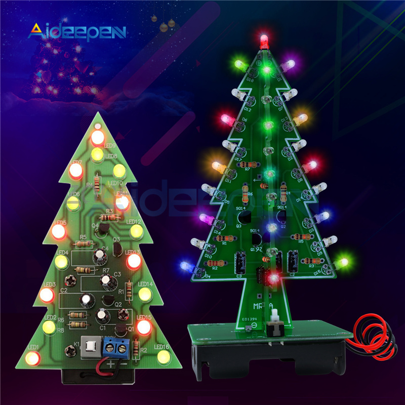 7 Colors 3D Christmas Tree LED Flash DIY Kit Red/Green/Yellow RGB LED Flash Circuit Kit Electronic Fun Suite Christmas Gift