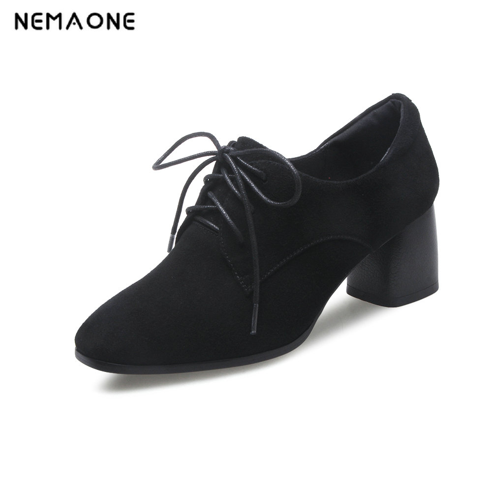 NEMAONE New Fashion 2018 Genuine leather suede laces shoes woman ankle shoes high heels round toe Autumn 34-42 size black nemaone new fashion 2018 genuine leather