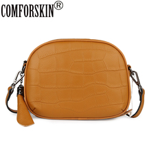 COMFORSKIN Real Leather Womens Shoulder Bag Cowhide Clutch 2019 Ladies Messenger Fashion Stone Pattern Cross-body
