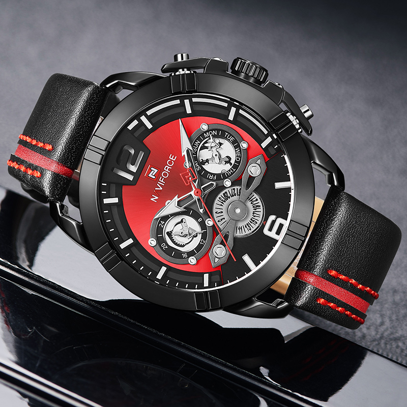 Image 2 - Relogio Masculino NAVIFORCE Men Watch Luxury Brand Mens Military Sports Quartz Watches Male Leather Waterproof Calendar Clock-in Quartz Watches from Watches