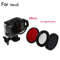 58mm Magnifier 16x Magnification Macro Close Up Lens UV Filter For GoPro Hero 5 Black Edition
