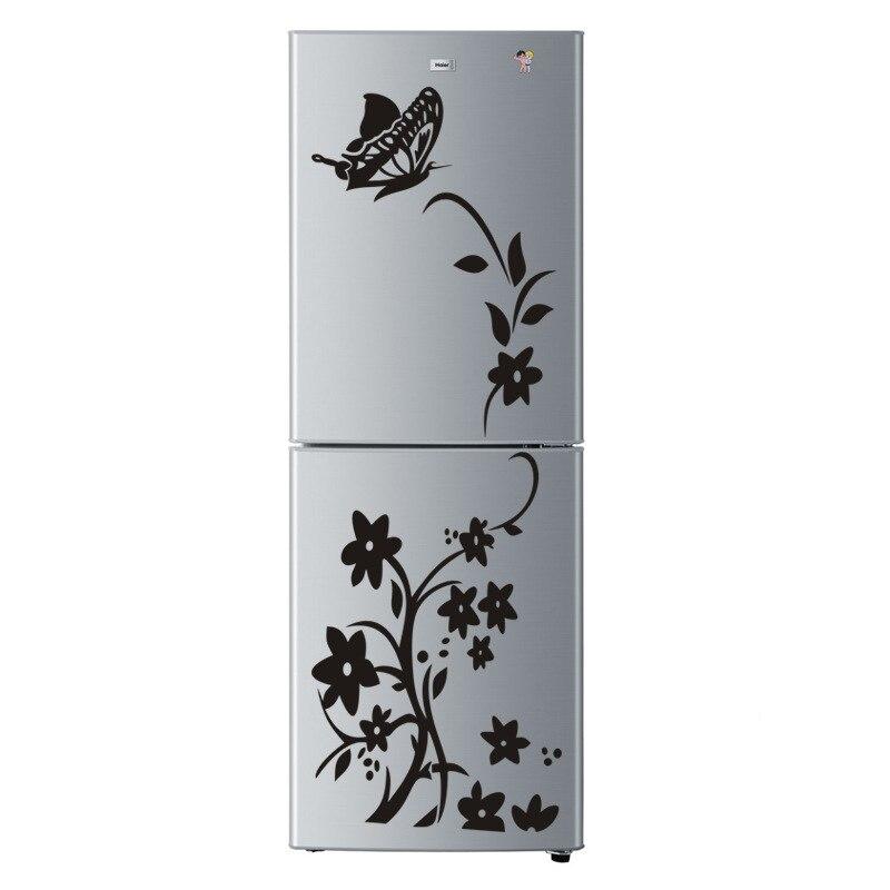 DIY черно-белая бабочка с цветочной семья декоративные настенные наклейки на холодильник стикер съемные дома холодильник Мебель, Декор
