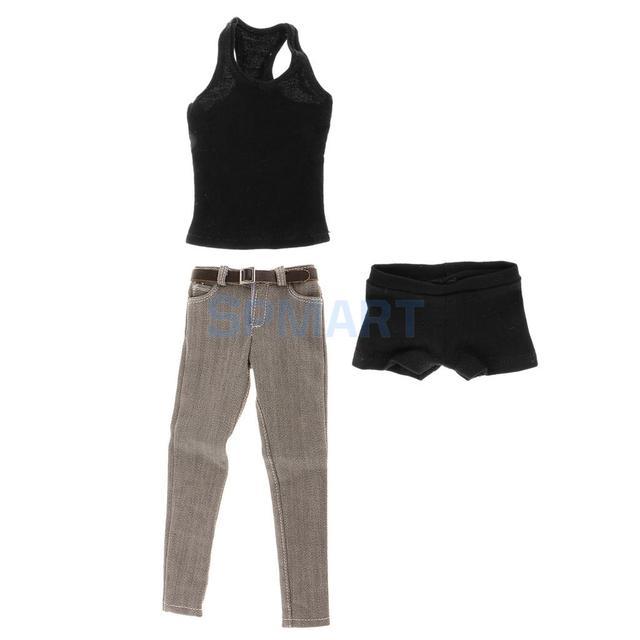 1/6 مقياس الرجال السود سترة الجينز الملابس الداخلية حزام مجموعة ل 12 الذكور عمل الشكل الجسم