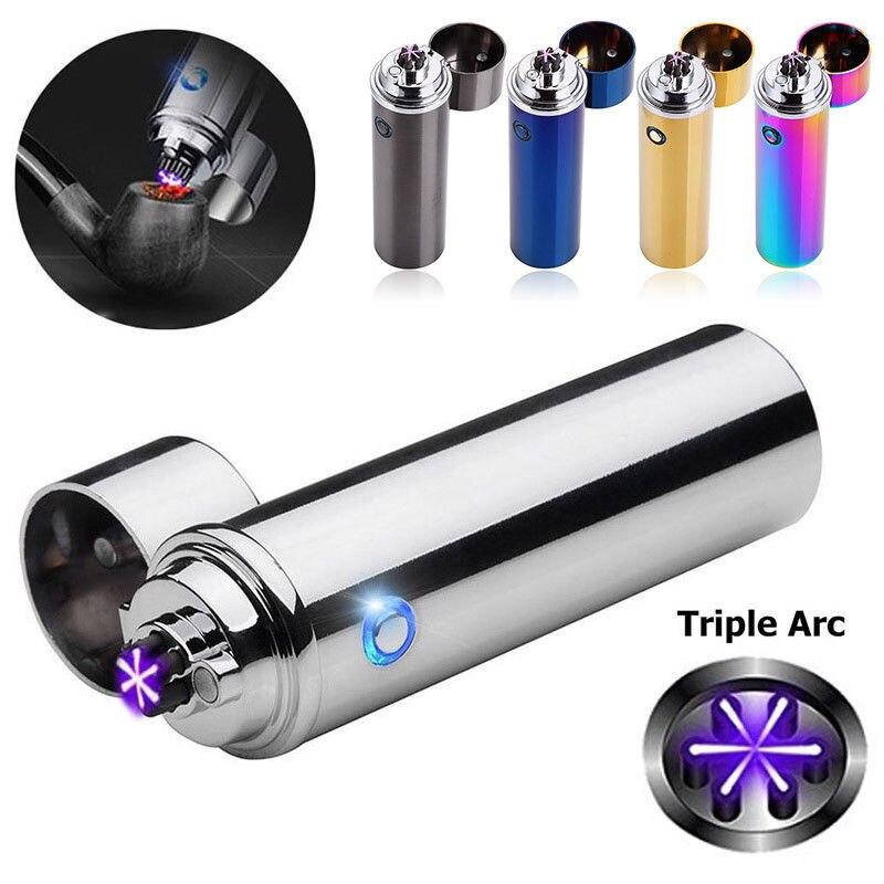 Mecheros de luz LED a prueba de viento eléctricos USB recargable Triple 6 arco Cruz a prueba de viento encendedor sin llama