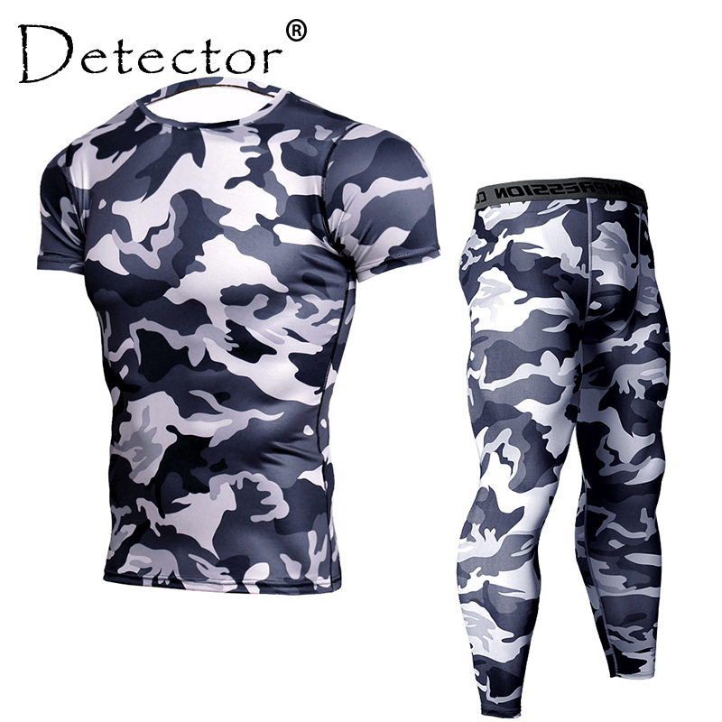 Detector Men Tight Short Sleeves Shirts Leggings Sport Suit Compression Shirt Pants Set Workout Fitness Bodybuilding Sportswear