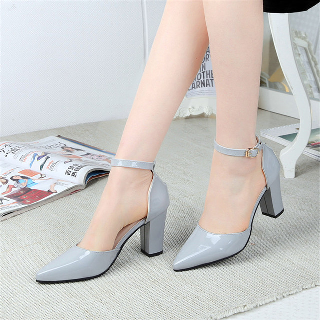 2016 spring and summer button belt genuine leather shallow mouth women's shoes with single shoes female thick heel toe cap