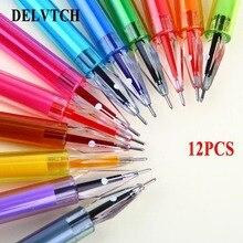 Купить Delvtch 12 шт./компл. 0,5 мм полезно Multi-Цвет гелевая ручка студентов, пишущих Pating декор канцелярские подарок изучения офисные
