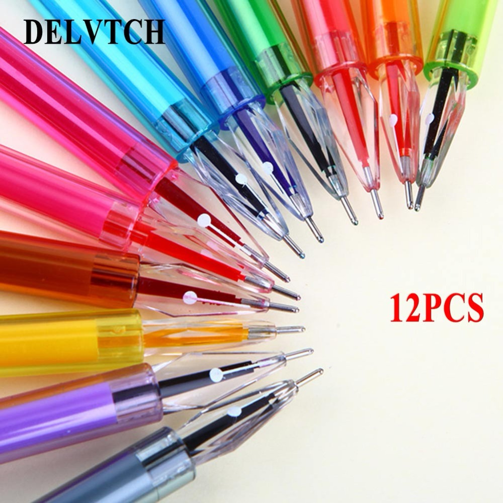 Delvtch 12pcs/set 0.5mm Useful Multi-color Gel Pen Students Writing Pating Decor Stationery Gift Studying office