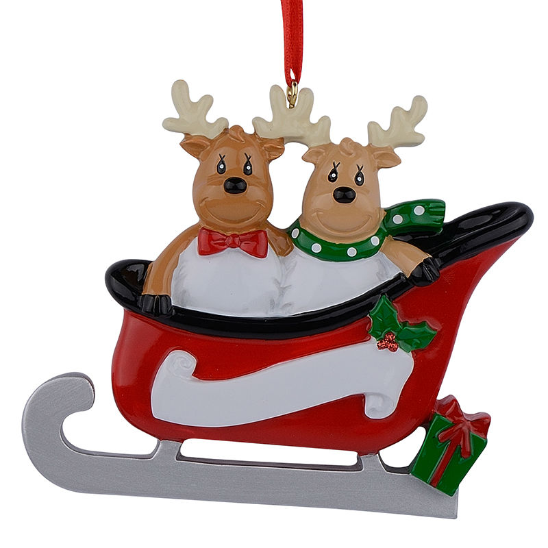 Christmas Decorations With Names On Them: Resin Reindeer Family Sled Family Of 2 Christmas Ornaments
